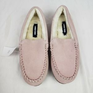Lands End Suede Moccasin Slippers Washed Pink NEW